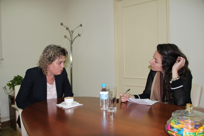 Durante la entrevista en la sede de la Fundación ONCE.